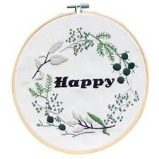 DIY Handicraft Bamboo Hoop Hand Embroidery Kits Cross Stitch Ornament Happy