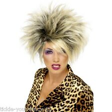 Womens 80's Wild Girl Wig Blonde Tina Turner Hen Fancy Dress Punk Rock Child