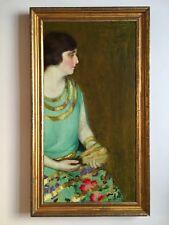 Louise Crow Boyac, American 1920/30s Oil Painting Portrait of Artist's Sister