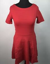 ZARA Womens Skater Dress Stretch Pull On Fit N Flare Career Red Size L AK43