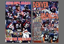 Denver Broncos SUPER BOWL XXXII, XXXIII CHAMPIONS 1998, 1999 Original POSTERS