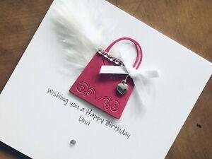 Personalised Handmade Birthday Cards 18, 21, 30, 40, 50, 60, Handbag Heart Charm