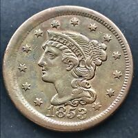 1853 Large Cent Braided Hair One Cent ERROR - OFF CENTER Misaligned Dies 4846
