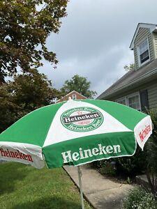 """Vintage Heineken canvas Umbrella beach patio green white logo rare! 84"""" across"""