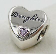 1Pcs White Crystal Heart Daughter Charm Silver bead Fit Bracelet/Necklace