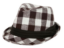 Plain Fedora Fashion Hat - Plaid Brown & White
