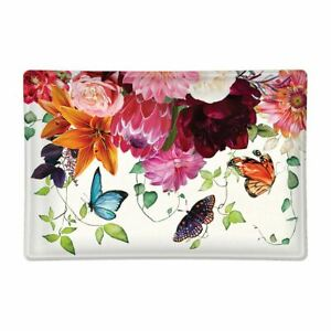Michel Design Works Glass Trinket / Soap Dish Sweet Floral Melody Butterflies