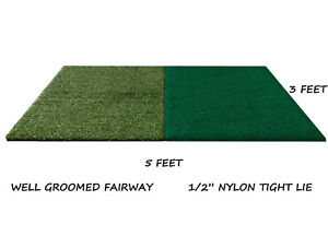 3'x5' Dual Synthetic Turf Golf Mat Chipping Fairway Driving Range Practice Mats