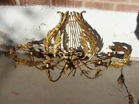 VTG Italian Tole GOLD GILT LARGE Candelabra SCONCE Harp LEAVES Candle Holder