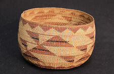 "Antique Lidded Yurok/Hupa Basketry Bowl 6 3/4"" x 4 3/4"" c.1930"