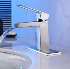 FsFaucets Square Wall Mounted Waterfall Glass Spout Modern Shower Tap Bathtub
