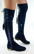 New Womens Thigh High Over The Knee Boots Low Heel Lace Up Sequin Flat Shoes