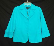 New $149 Talbots Sz 8P 8 P Petite Blue Stretch Cotton Pique Jacket 16062915oNv