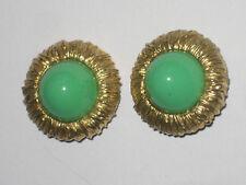 Stern clips oreilles métal doré cabochon vert pâte de verre années 80