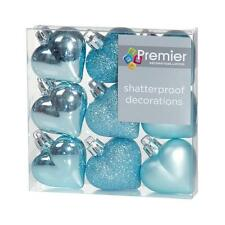 Christmas Tree Decoration 9 Pack 40mm Shatterproof Heart Baubles - Ice Blue