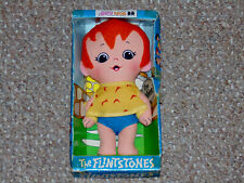 "1972 Knickerbocker Flintstones Pebbles 6.5"" Plush Doll Complete with Box"