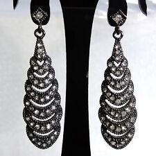 ELEGANT Vintage Anti Black Metal Rheinstones Dangle Drop 5.5 cm Long Earrings