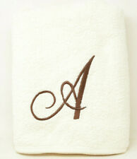 "Avanti Premier Brown Script Monogram Letter ""A"" Bath Towel in Ivory"