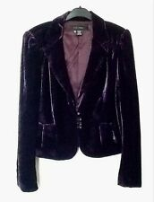 ZARA Purple Silk Velvet Blazer With Gold Military Buttons Medium M
