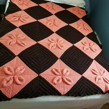 """Hand Knit Afghan Cable Stitch Brown and Peach Floral Geometric Pattern 50"""" x 65"""""""