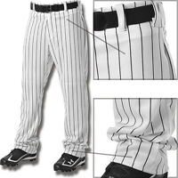 Alleson Youth Boys Relaxed Fit Open Bottom Pinstripe Baseball Pants