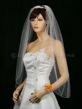 1T White Wedding Bridal Fingertip Pencil Tiara Veil