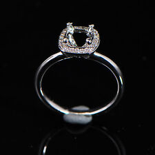 Gold Natural Amethyst Natural Diamond Ring 6x6mm Cushion Cut Solid 14kt White