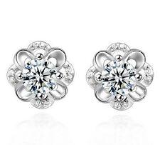 FD1201 Hollow Flower Flora Stud Crystal Rhinestones White Sapphire Earring Stud