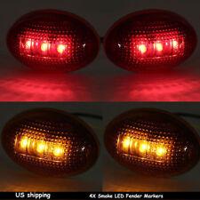 4pcs Smoke Side Amber Fender Marker Dually Bed LED Light For 99-10 Ford F350