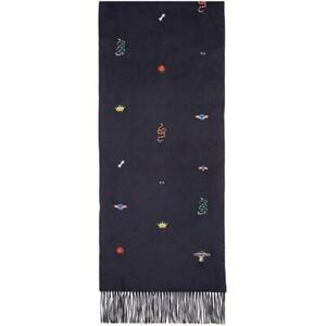 New Authentic GUCCI EMBROIDERED NEW MIX Black SILK CASHMERE Long Scarf