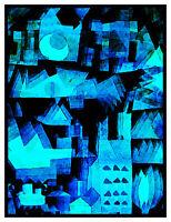 Modern Cubist Klee Blue Dream City Counted Cross Stitch Chart Pattern