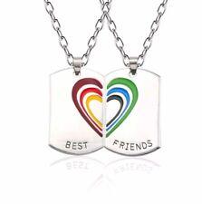 2X Best Friends Regenbogen Anhänger mit Kette Geschenk Schmuck Edelstahl LGBT