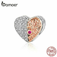 BAMOER 925 Sterling silver Charm Bead Mom's heart With CZ Fit Bracelet Jewelry