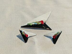 60s  Enamel on Copper Brooch Earrings Set Signed Blio Quebec