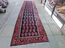 Vintage Traditional Hand Made Oriental Blue Red Pink Wool Long Runner 505x105cm