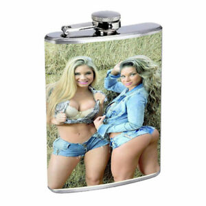 Country Pin Up Girls D34 Flask 8oz Stainless Steel Hip Drinking Whiskey