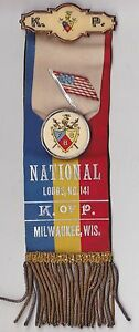 EARLY 1900s CELLULOID RIBBON - PIN - KNIGHTS OF PYTHIAS - MILWAUKEE WI