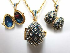"""Blue Traditional Easter Egg Pendant W/ 18"""" Chain heart inside faberge inspired"""