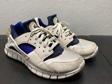 separation shoes 76c65 a0aaf Men Nike Huarache White Blue Athletic Sneakers Shoes 487654-144, sz 11.5