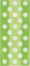 20 Lime Green Spotty Cellophane Gift Bags - Plastic Loot Bag Party Polka Dot