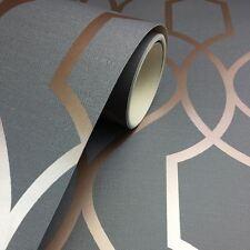 Sommet Géométrique Papier Peint Treillis Gris Charbon / Cuivre - Décor Fin