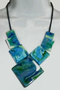 Sobral  Pollock Jackson Gorky Blue Green Marbled Beads Artist Made Necklace