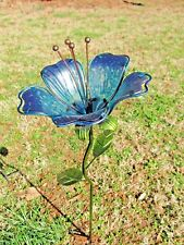 Twilight Lily Blue Flower Stake Metal & Glass Yard & Garden decor