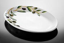 "BASSANO ovale Oliven Servierplatte ""VENEZIA"" italienische Keramik 36x25 Reliefen"