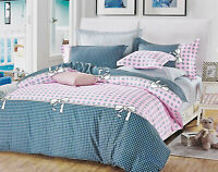 Pink Dots Checks Duvet/Doona/Quilt Cover Set Queen/King/Super King Size M419