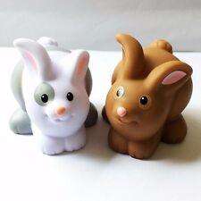 2pcs Fisher-Price Little People Bunny Rabbit Family Farm Animal Figure Baby Doll
