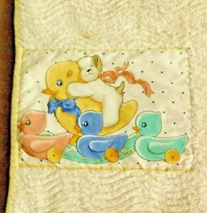 VTG Yellow/White Chenille Throw Quilt Blanket Handmade Ducks/Bear Size 39 x 44