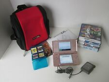 Lot Nintendo DS Lite Pearl Pink Tested 7 Games Manual Power Cord DS Backpack