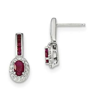 14k White Gold Genuine Diamonds & Red Ruby Oval Halo Design Stud Earrings Gift