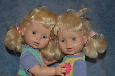 PLAYMATES TOYS BABY SO BEAUTIFUL twin DOLLs BLONDE HAIR BSB CLOTHING blue eyes